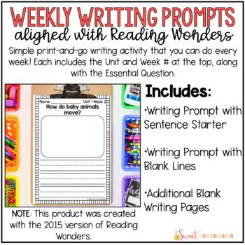 Reading Wonders Weekly Writing Prompts (Kindergarten)