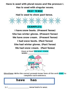 Reading Wonders' Wild Weather Grammar Packet (Has, Have, Had) - Second Grade