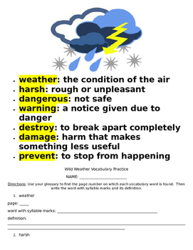 Reading Wonders Wild Weather Literature Packet