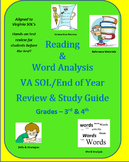Reading & Word Analysis VA SOL/End of Year Review & Study Guide