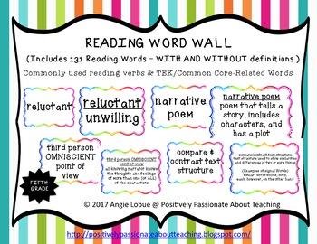 Reading Word Wall {Fifth Grade}