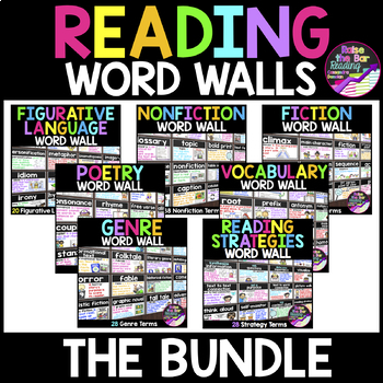 Reading Word Walls Bundle - 200 Reading Posters, Word Wall Cards, or Flashcards