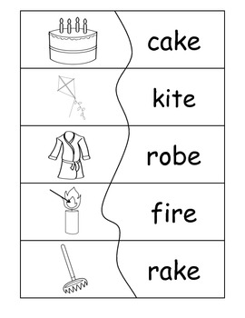 Reading Words Puzzles Silent e and Digraphs B&W {level 2}