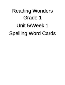 Reading Words Unit 5 Spelling Word Cards