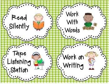 Reading Work Station Poster/Signs that Support Daily 5