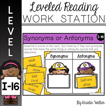 Reading Work Station for Level I - Synonyms or Antonyms by Kristin ...