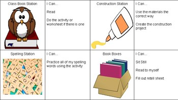 Reading Work Stations Labels and Directions with Pictures!