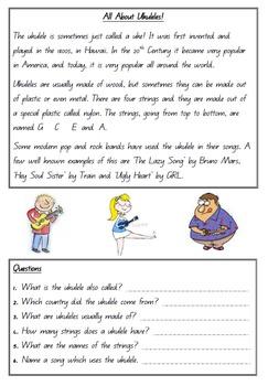 Reading Worksheet - Ukulele