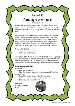 Reading Worksheets Level 2