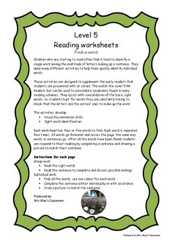 Reading Worksheets - Level 5 - find-a-word by Mrs Mac's Classroom