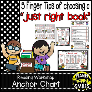 """Reading Workshop Anchor Chart - """"5 Finger Tips for Choosing a Just Right Book"""""""