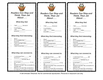 Reading Workshop Anchor Chart Bookmarks  BUNDLE 1