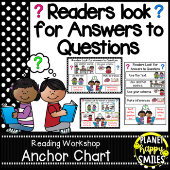 """Reading Workshop Anchor Chart - """"Readers Look for Answers to Questions"""""""