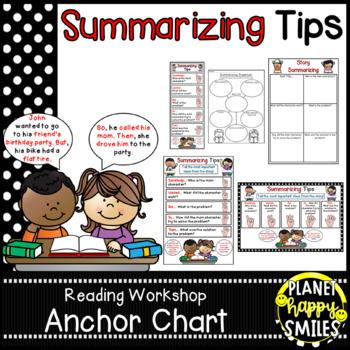 """Reading Workshop Anchor Chart - """"Summarizing"""" + Summarizing Organizer"""