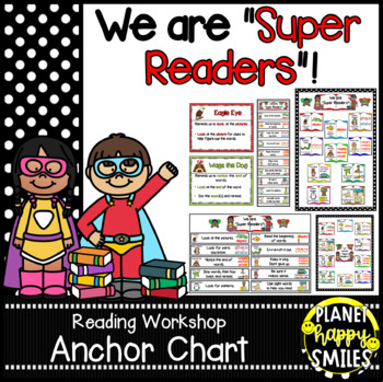 "Reading Workshop Anchor Chart - ""We are Super Readers"" using Reading Strategies"