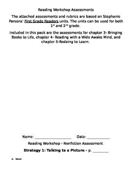 Reading Workshop Assessments-grades 1 and 2