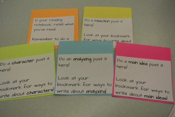 Reading Workshop Bookmarks with Thinking Prompts for Post-its CCSS Aligned