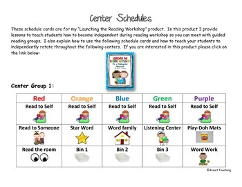 {FREEBIE} Reading Workshop Center Schedule Cards (Kindergarten)