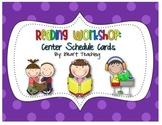 {FREEBIE} Reading Workshop Center Schedule Cards (Kindergarten)