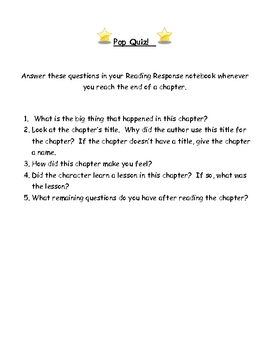 Reading Workshop Chapter Book Questions - Pop Quiz!