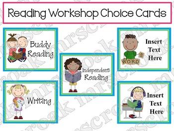 Reading Workshop Choice Cards (editable)