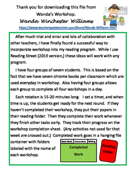 Reading Workshop Ideas