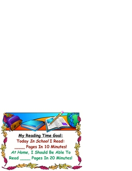 Reading Workshop Independent Goal Time Card Chart