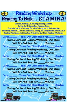 Reading Workshop Independent Stamina MInilesson Goal Minutes Chart