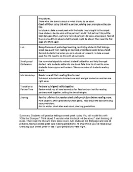 Reading Workshop Lucy Calkins First Grade Building Good Reading Habits Summary