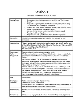 Reading Workshop Lucy Calkins Readers Have Big Jobs to Do Unit 3 Summary