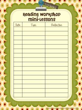 Reading Workshop Mini-Lesson Tracker
