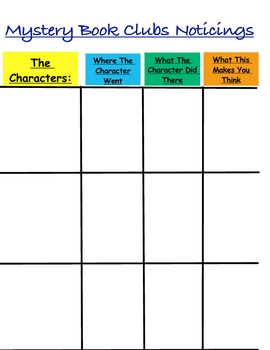 Reading Workshop Mystery Book Clubs Noticings Progress Chart Sheet