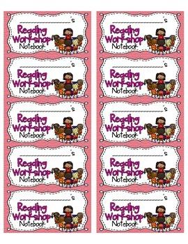 Reading Workshop Notebook Labels