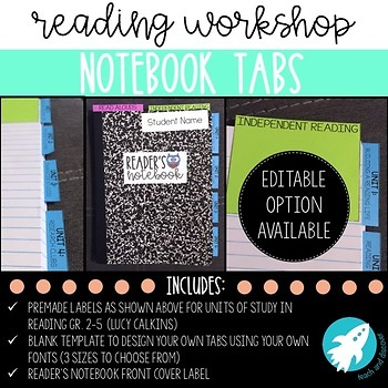 PRE-MADE & EDITABLE Reading Workshop Notebook Tabs