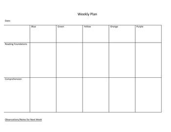 Reading Workshop Planner