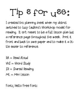 Reading Workshop Planning Guide
