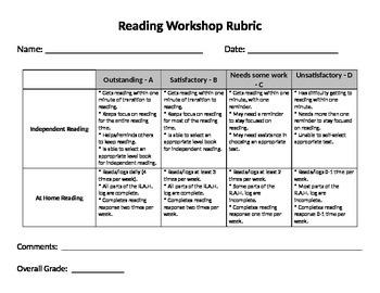 Reading Workshop Rubric