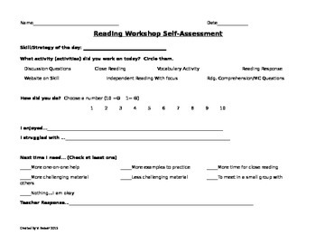 Reading Workshop Self-Assessment