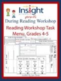 Reading Workshop Task Menu & Recording Sheets-Grades 4 & 5