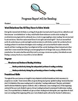 Reading Workshop Units of Study First Grade Parent Progress Reports Bundle