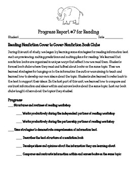 Reading Workshop Units of Study Progress Report Nonfiction Book Clubs