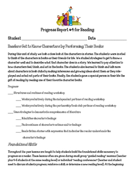 Reading Workshop Units of Study Progress Report Readers Get to Know Characters
