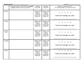 Reading Workshop Weekly Sheet