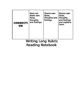 Reading Workshop: Writing Long Rubric