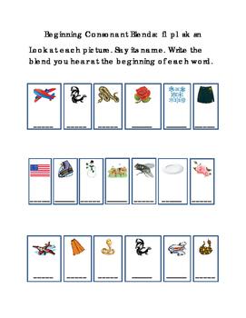 Reading Write Beginning Consonant Blends Letters FL PL SK SN