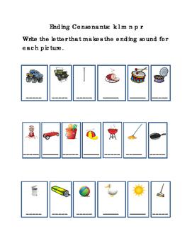 Reading Write Ending Consonants Letters K L M N P R Emergent Reader
