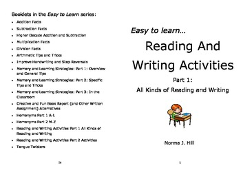 Reading & Writing Activities Part 1 - Easy to Learn Series