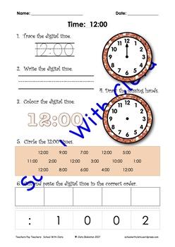 Reading & Writing Analogue & Digital Time: The O'Clocks (eg 8:00)