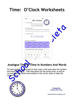 Reading & Writing Analogue Time In Numbers & Words: The O'Clocks (eg 5 o'clock)