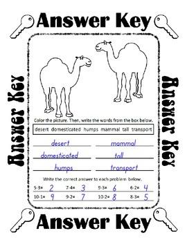 Reading, Writing & Arithmetic ~ Camel ~ One Work Sheet ~ Many Holidays